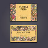 Vector Business card Design Template with Ornamental geometric mandala pattern. Vintage decorative elements. Hand drawn tile backg. Round. Islam, Arabic, Indian Stock Image
