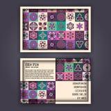Vector Business card Design Template with Ornamental geometric mandala pattern. Vintage decorative elements. Hand drawn tile backg. Round. Islam, Arabic, Indian vector illustration