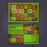 Vector Business card Design Template with Ornamental geometric mandala pattern. Vintage decorative elements. Hand drawn tile backg Stock Photo