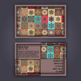 Vector Business card Design Template with Ornamental geometric mandala pattern. Vintage decorative elements. Hand drawn tile backg Stock Photos