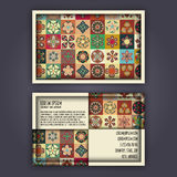 Vector Business card Design Template with Ornamental geometric mandala pattern. Vintage decorative elements. Hand drawn tile backg Stock Photography