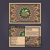 Vector Business card Design Template with Ornamental geometric mandala pattern. Vintage decorative elements. Hand drawn tile backg Stock Images