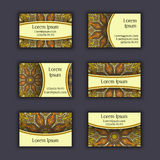 Vector Business card Design Template with Ornamental geometric mandala pattern. Vintage decorative elements. Hand drawn tile backg Royalty Free Stock Images