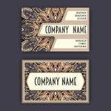 Vector Business card Design Template with Ornamental geometric mandala pattern. Vintage decorative elements. Hand drawn tile backg Royalty Free Stock Photography