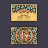 Vector Business card Design Template with Ornamental geometric mandala pattern. Vintage decorative elements. Hand drawn tile backg Stock Photo