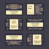 Vector Business card Design Template with Ornamental geometric mandala pattern. Vintage decorative elements. Hand drawn tile backg Royalty Free Stock Photos