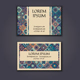 Vector Business card Design Template with Ornamental geometric mandala pattern. Vintage decorative elements. Hand drawn tile backg Royalty Free Stock Photo