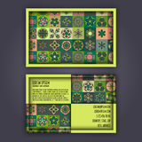 Vector Business card Design Template with Ornamental geometric mandala pattern. Vintage decorative elements. Hand drawn tile backg Royalty Free Stock Image