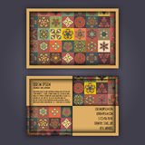 Vector Business card Design Template with Ornamental geometric mandala pattern. Vintage decorative elements. Hand drawn tile backg Stock Image