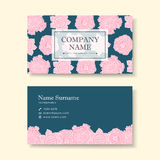 Vector business card design template of pink flower Royalty Free Stock Images