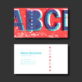 Vector business card design template of red Stock Photos