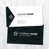 Vector business card design. On wood texture Royalty Free Stock Images