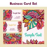 Vector business card with floral pattern Stock Images