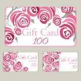 Vector business card with hand drawn roses. Colorful romantic gift cards. Stock Images