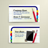 Vector business card with pencil and notebook Royalty Free Stock Photos