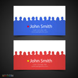Vector business card with people silhouette. Royalty Free Stock Photos