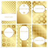Vector business card. Set of vector business card templates.Collection of elegant templates for cards, invitations, postcards. Color - gold. Vector Royalty Free Stock Images
