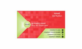Vector geomatric Business Card Single side. Simple geometric template for business card red and green color stock illustration