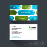 Vector business card template with colourful rounded rectangles. Vector business card template with green rounded rectangles for tech, market, construction stock photos
