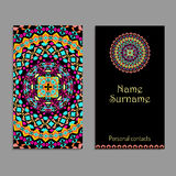 Vector business card template. Ethnic tribal ornaments. Mandala patterns. Boho style Royalty Free Stock Photography