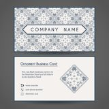 Vector Business Card Template. Ornamental vintage business card. Vector editable template include front and back side, geometric pattern and contact icons Royalty Free Stock Photo