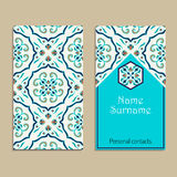 Vector business card template. Portuguese, Moroccan; Azulejo; Arabic; asian ornaments Royalty Free Stock Images