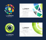 Vector business card template set. Globe and ring Stock Photo