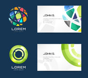 Vector business card template set. Globe and ring logo icons. Abstract geometric low poly design and creative identity cards. Plank, paper print. Business card Royalty Free Stock Images