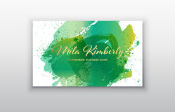 Vector business card templates with green brush stroke and splash background. Green and Gold Design Templates for Brochures, Flyers, Mobile Technologies and Stock Images