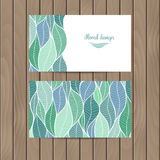 Vector business card with the texture of leaves Royalty Free Stock Images