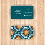 Vector business cards with fish scale design. Unique vector abstract creative business cards with pattern in fish scale design. Wood background.  Series of Stock Photos