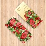 Vector business cards with floral pattern. Royalty Free Stock Photo