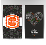 Vector business cards with Italian pasta for restaurants Stock Image