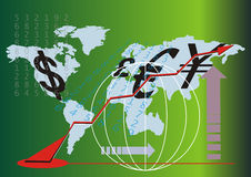 Vector Business Chart. Vector business chart with numbers and currencys Stock Images