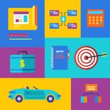 Vector business collection of flat and colorful Stock Photography