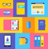 Vector business collection of flat and colorful Royalty Free Stock Photography