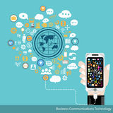 Vector Business Communications Technology. With business icons Stock Photo