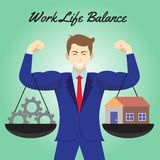 Work Life Balance Cogwheel And Home Hanging On Arms Of Businessman vector illustration