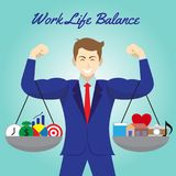 Work Life Balance Icons Hanging On Arms Of Businessman Royalty Free Stock Photo