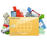 Vector Business Concept with Credit Card. On white background Stock Photo