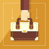 Vector business concept in flat style hand holding briefcase on the background with city landscape Stock Images