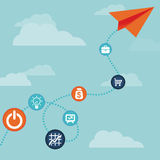 Vector business concept -flying  paper plane Stock Images