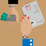 Vector - Business concept. Hand exchange debt and credit card. Royalty Free Stock Images