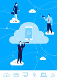 Vector business concept  illustration.  Businessman and businesswoman connect by the cloud. Flat design vector concept illustration. Teamwork. Businessman and Royalty Free Stock Images