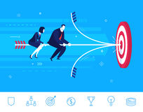Vector business concept  illustration.  Businessman and businesswoman hit the target Royalty Free Stock Image