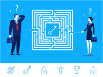 Vector business concept  illustration.  Businessman and businesswoman thinking how to pass the maze Royalty Free Stock Photography