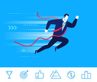 Vector business concept  illustration. Businessman came to the finish line first. Flat design vector concept illustration. BBusinessman came to the finish line Stock Photography