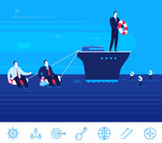 Vector business concept  illustration.  Businessman help other peoples Royalty Free Stock Image