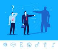 Vector business concept  illustration. Businessman and his shadow Royalty Free Stock Image