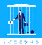 Vector business concept  illustration.  Businessman in jail. Flat design vector concept illustration. Teamwork. Businessman in jail wearing shackles. Choose the Royalty Free Stock Photos